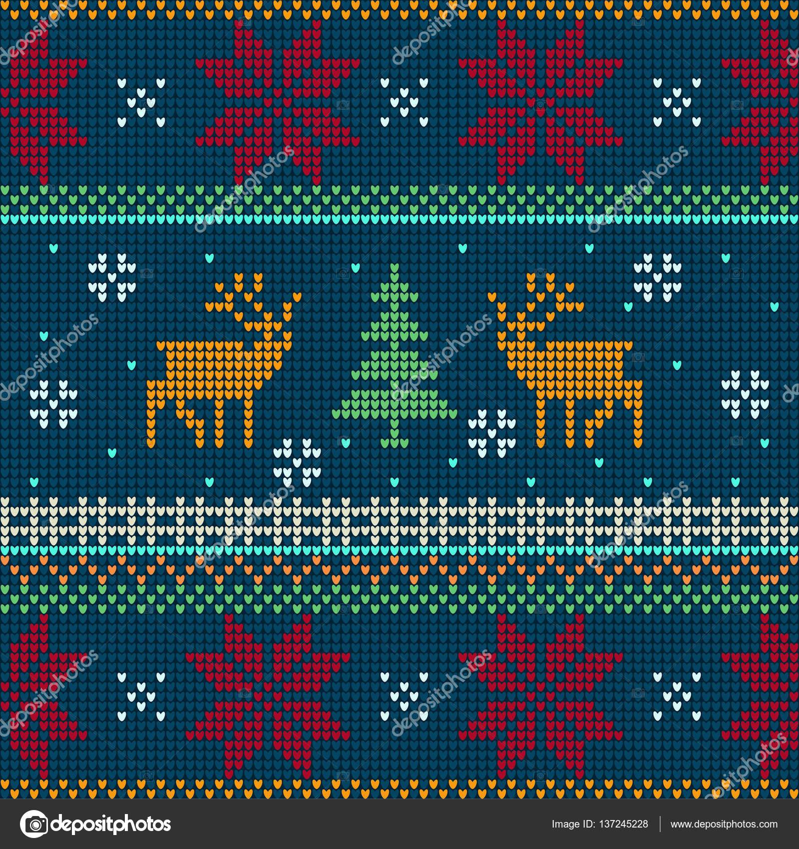 Patrón de punto noruego con ciervos — Vector de stock © Daudau992 ...