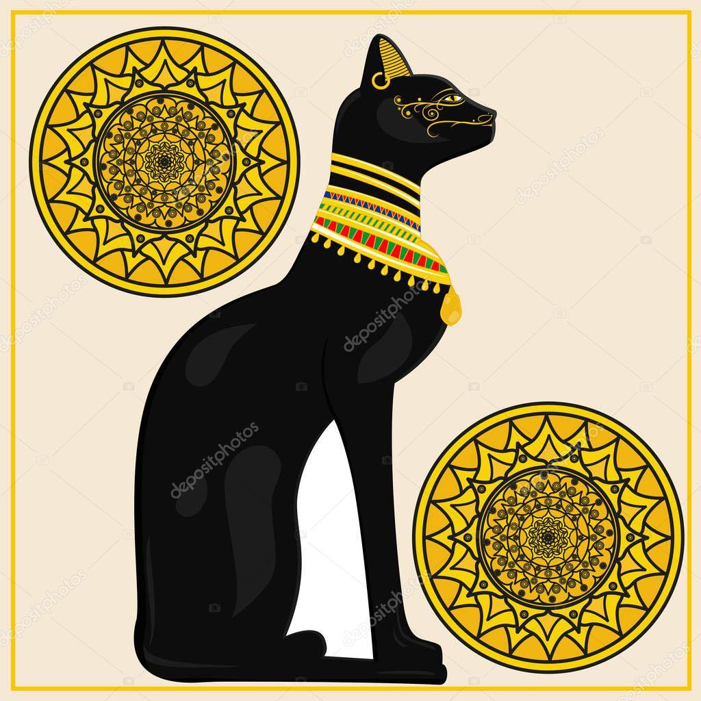 Ein Bild Von Eine ägyptische Katze Mit Ethnischen Elementen
