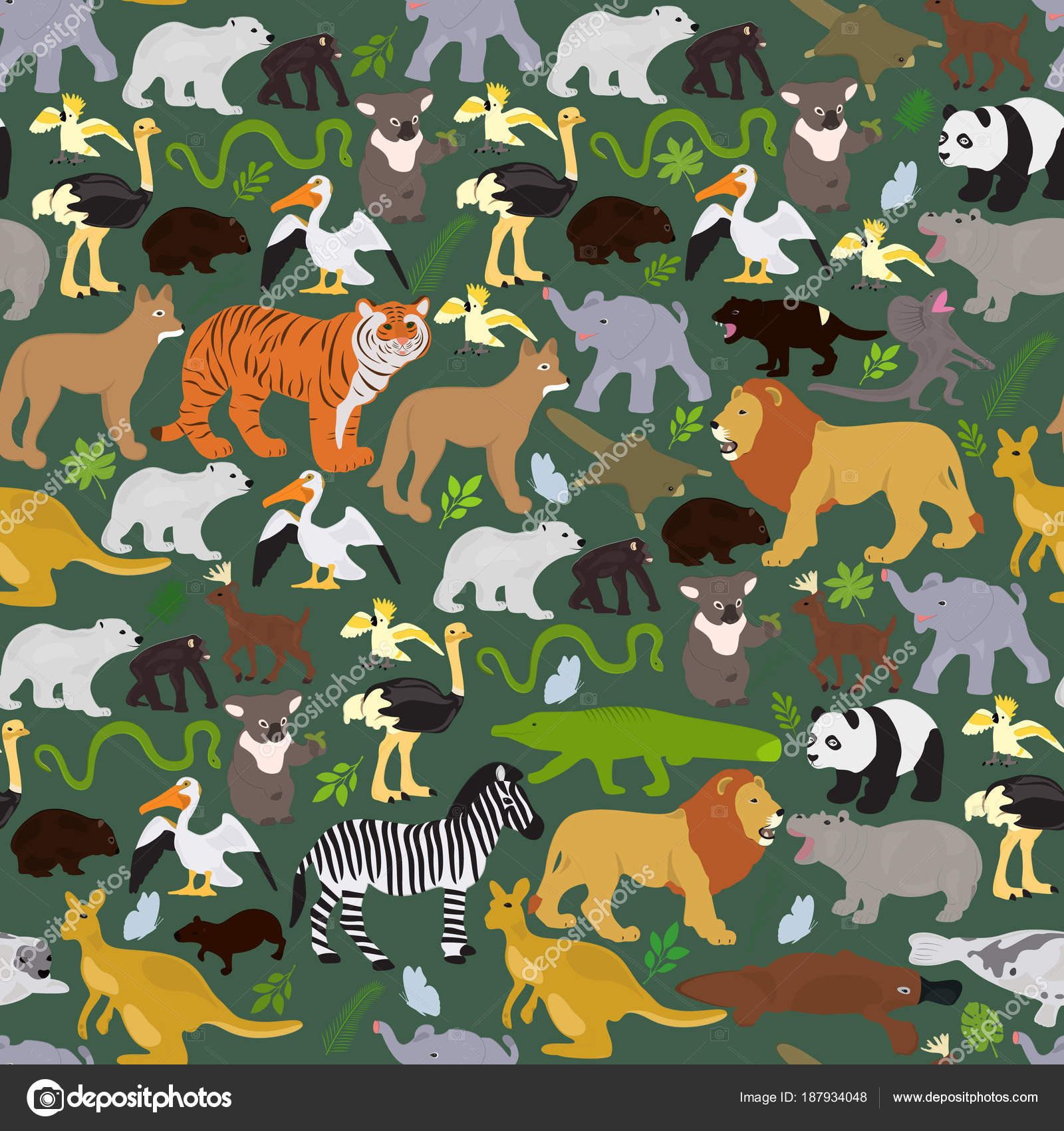 野生動物の主題によるシームレスなベクトルの背景 ストックベクター