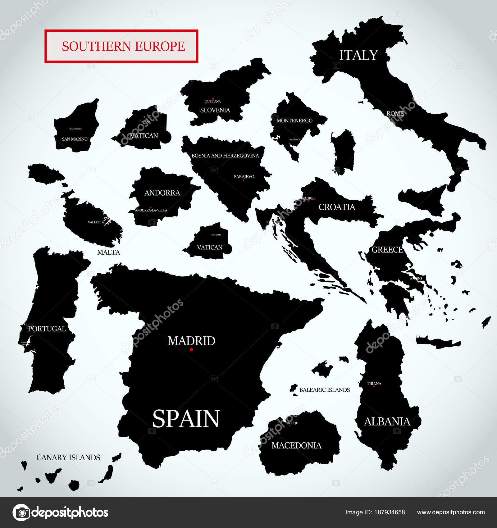 Vector Map Southern Europe Capitals Names — Stock Vector © Daudau992 ...