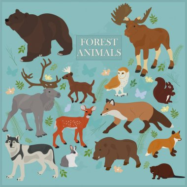 Set of forest animals on a blue background stock vector
