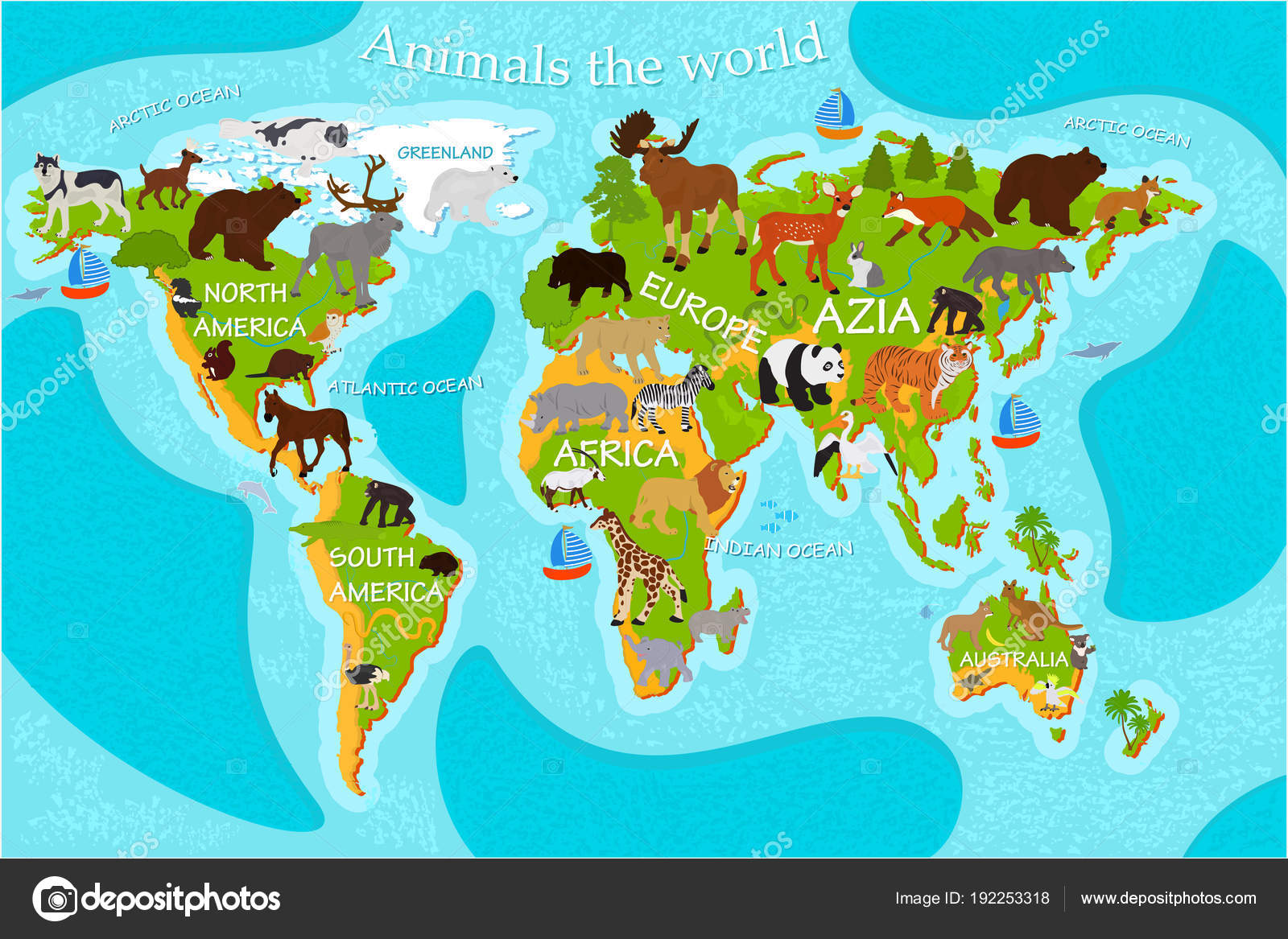 Map World Animals Names Continents — Stock Vector © Daudau992 #192253318