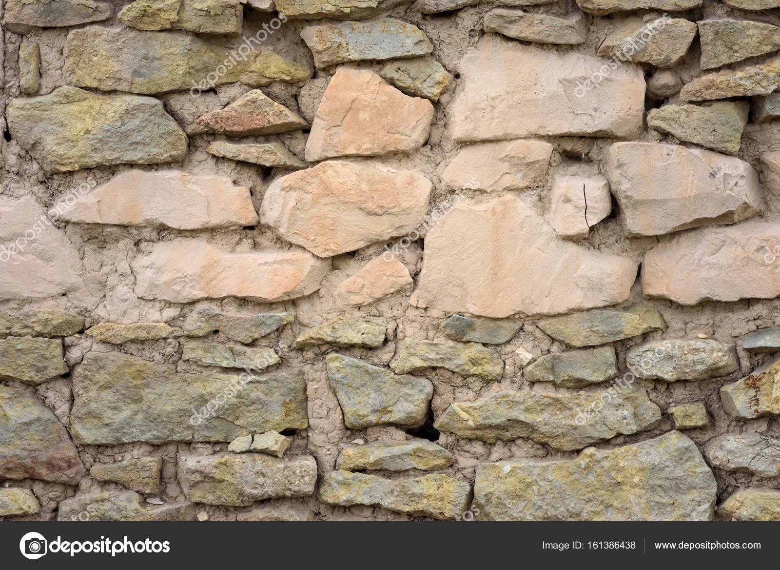 Wand Aus Naturstein Und Lehm U2014 Stockfoto