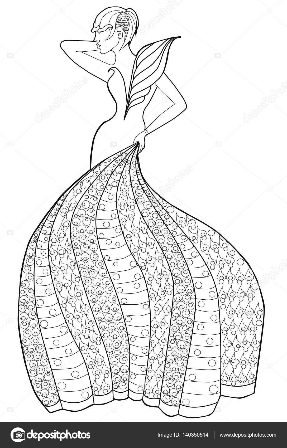 Malvorlagen Buch für Erwachsene. Frau in einem langen Kleid. Mode ...