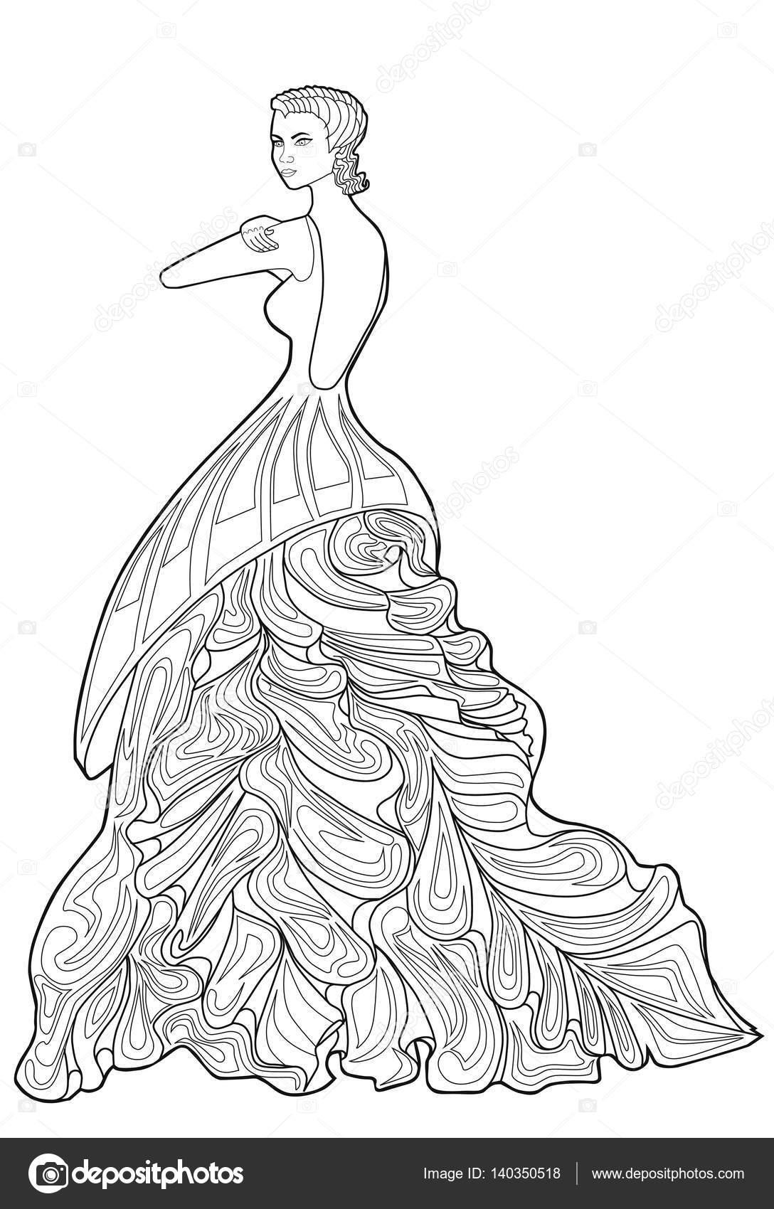 boek kleurplaat voor volwassenen vrouw in een lange jurk