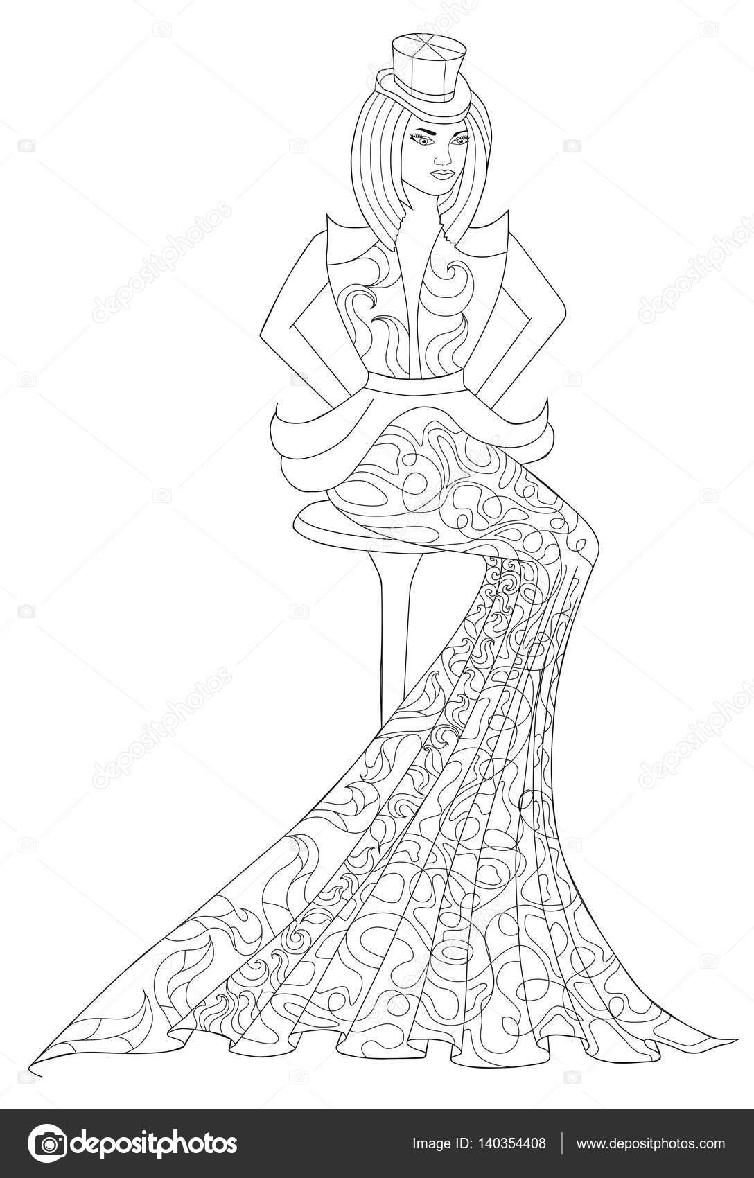 1575fd68602 Színező oldal könyv a felnőttek számára. Ülő lány egy hosszú ruha ...