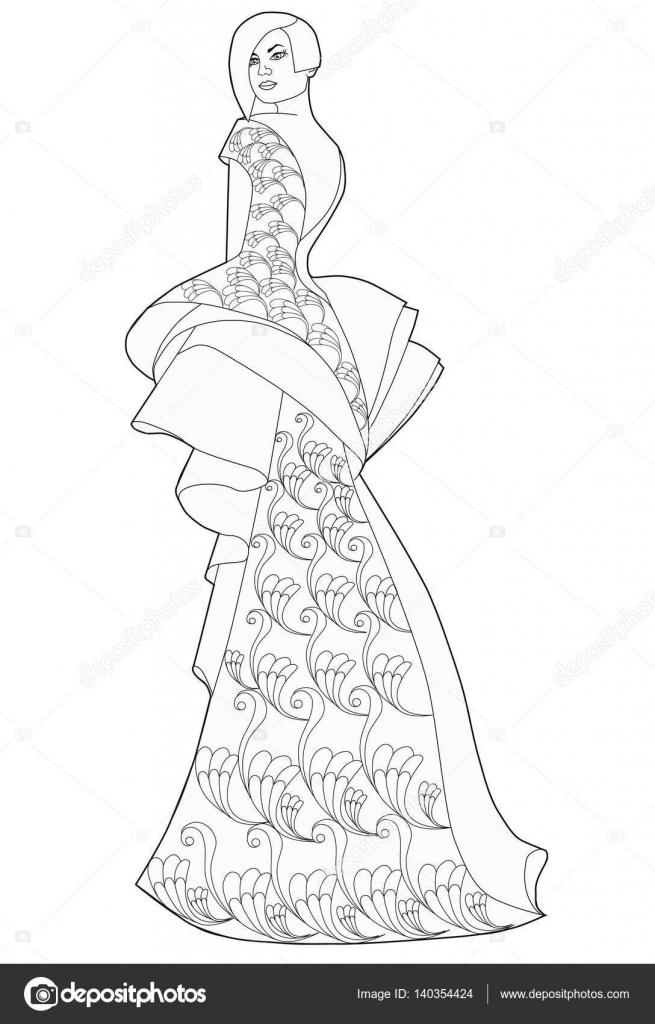 Imágenes Vestidos Largos Para Colorear Página De Libro Para