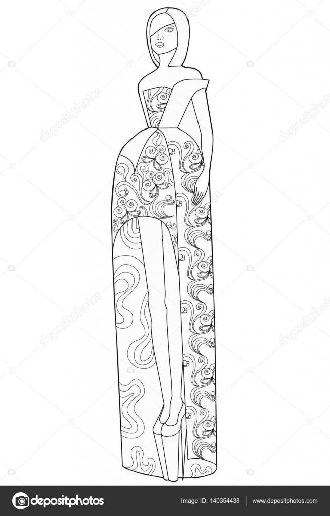 Página de libro para colorear para adultos. Mujer en un vestido ...