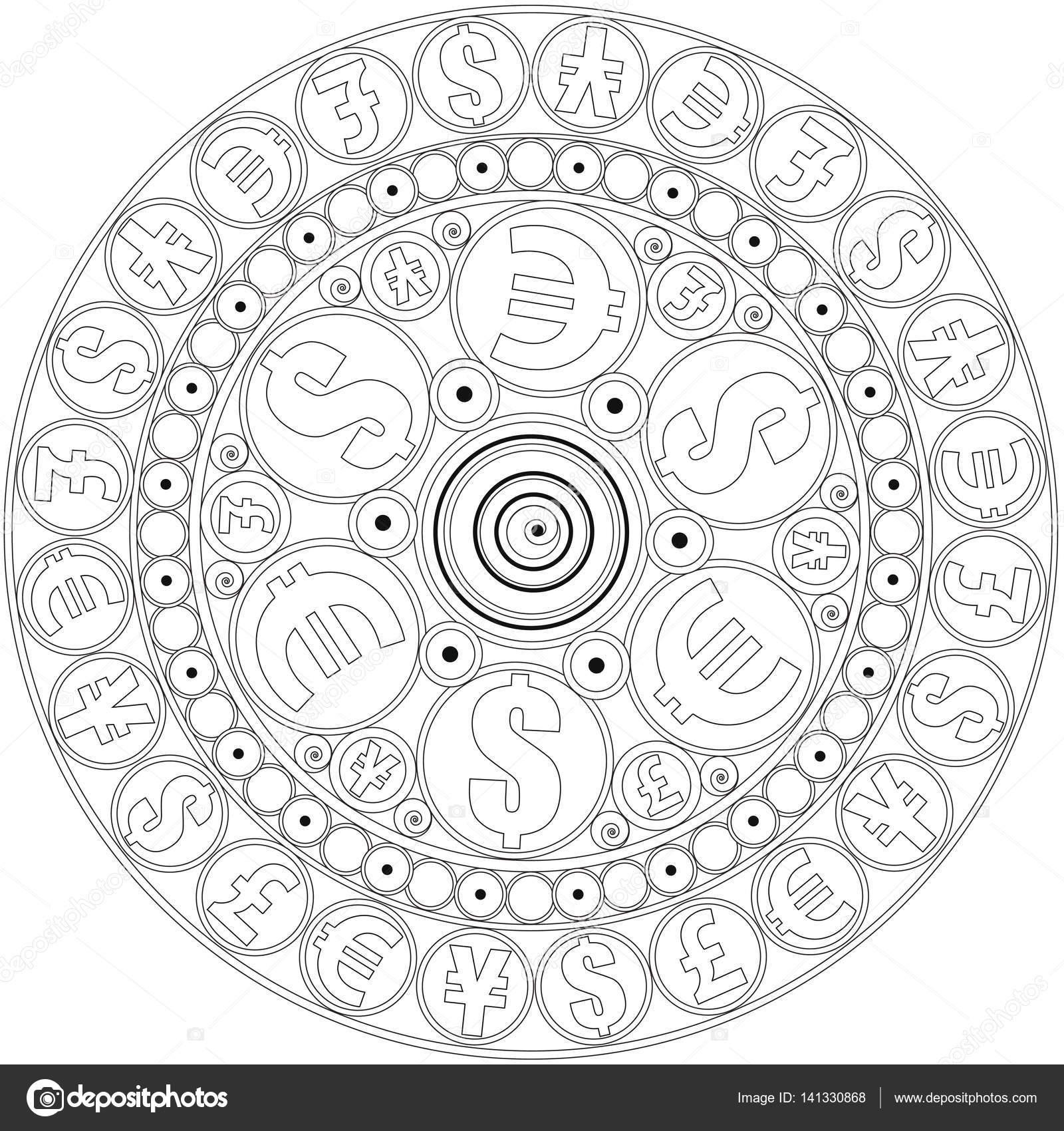 Mandala Geld Aan Te Trekken Mandala Kleur Kleurplaat Voor