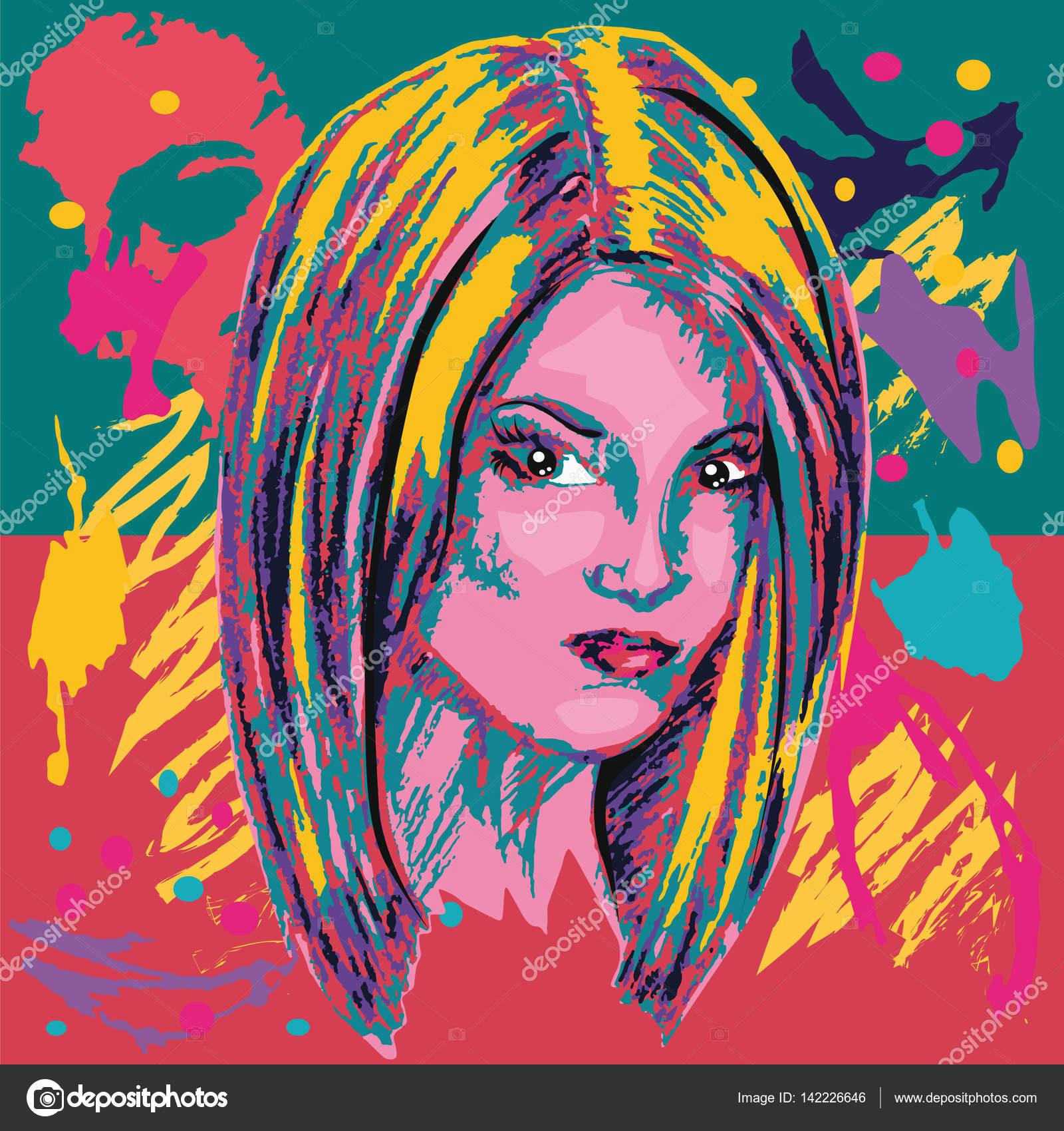 Bunte Poster Bob Frisur Abstraktion Stockvektor C L Grape 142226646
