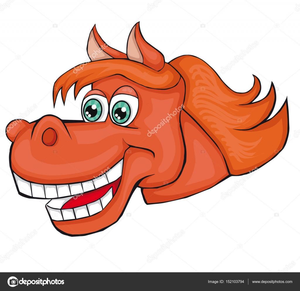 Testa di cavallo stile cartone animato immagine isolata