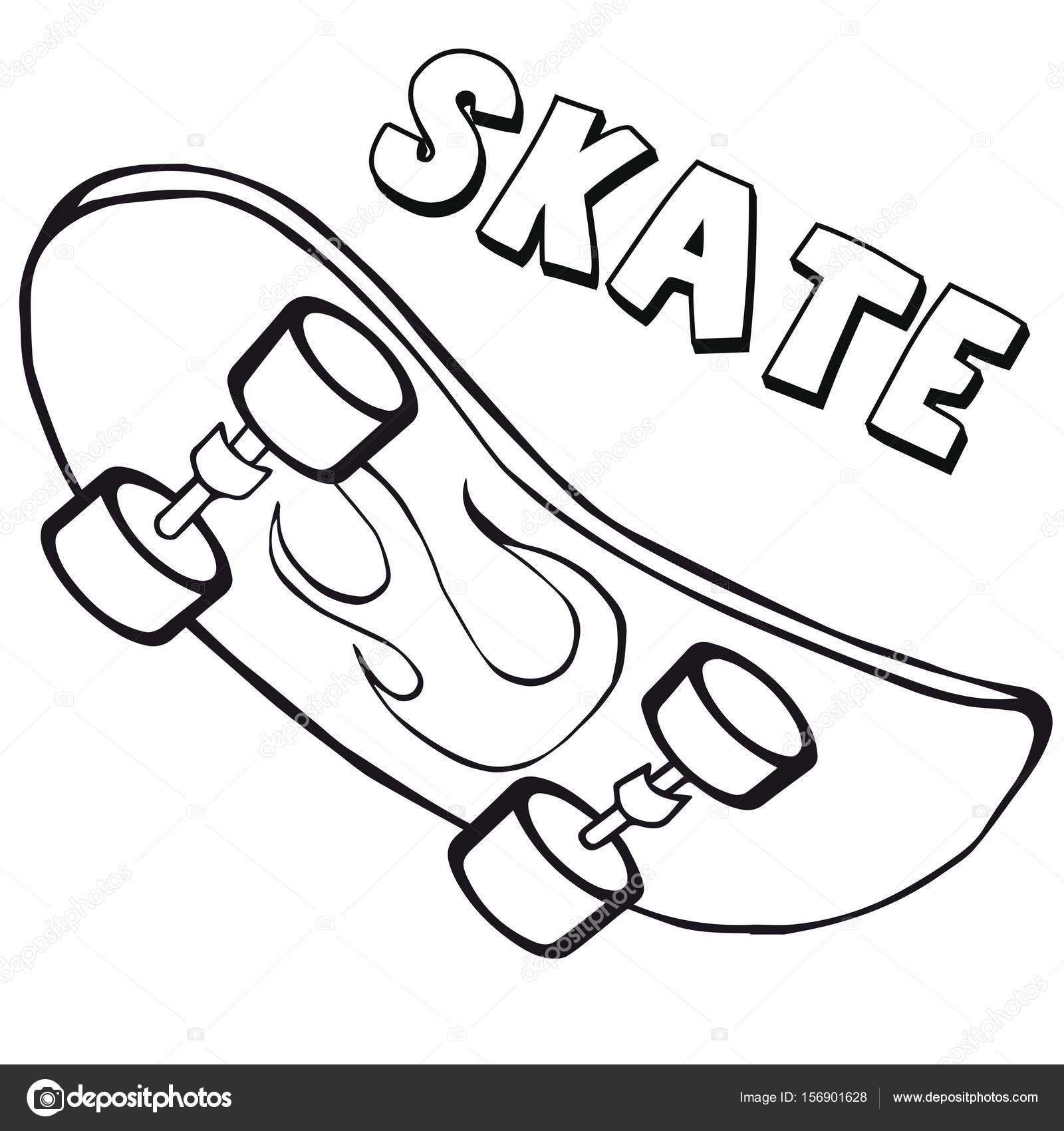 Coloring Book Skateboard. Cartoon-Stil. ClipArt für Kinder ...