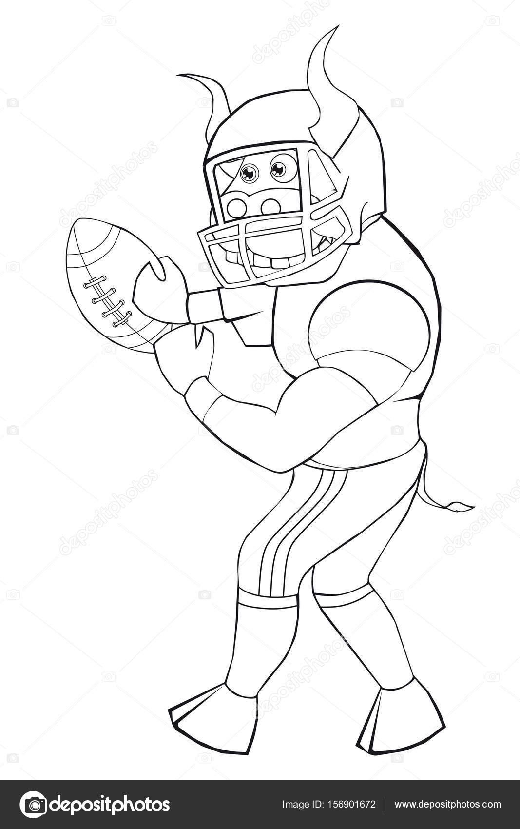 Coloring Book Bull spielt American Football. Cartoon-Stil. Isoliert ...