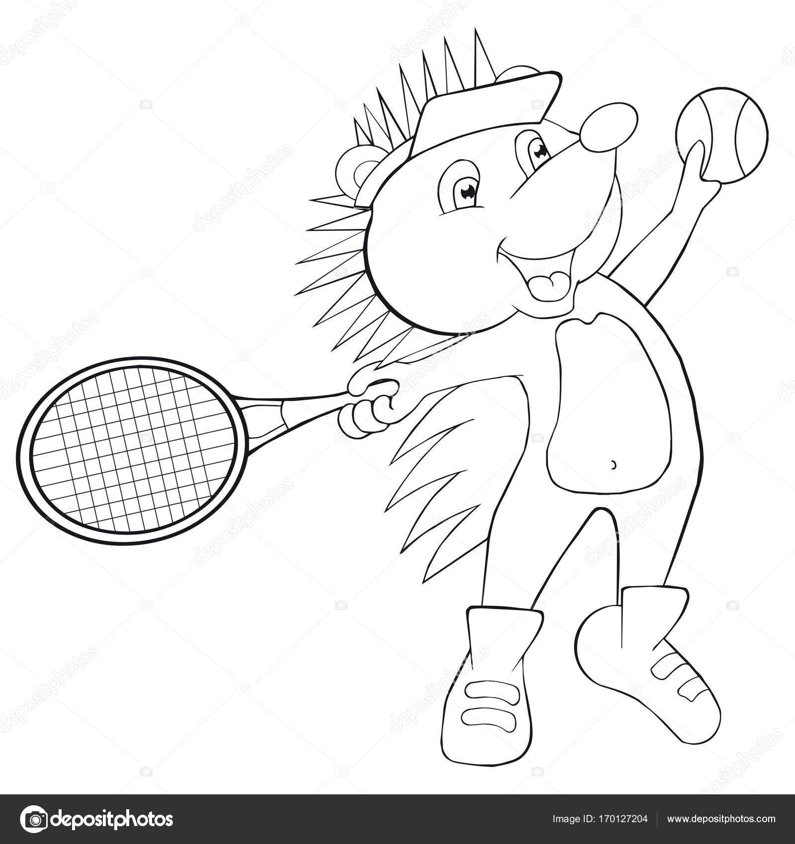 erizo de libro para colorear juega al tenis estilo de dibujos animados archivo imgenes