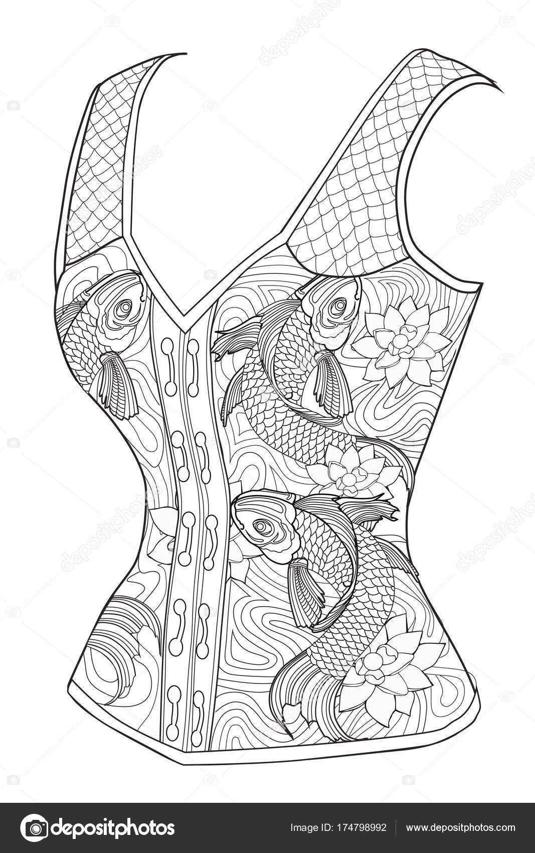 Coloring page for adults. Corset with fish. Art Therapy. — Stock ...