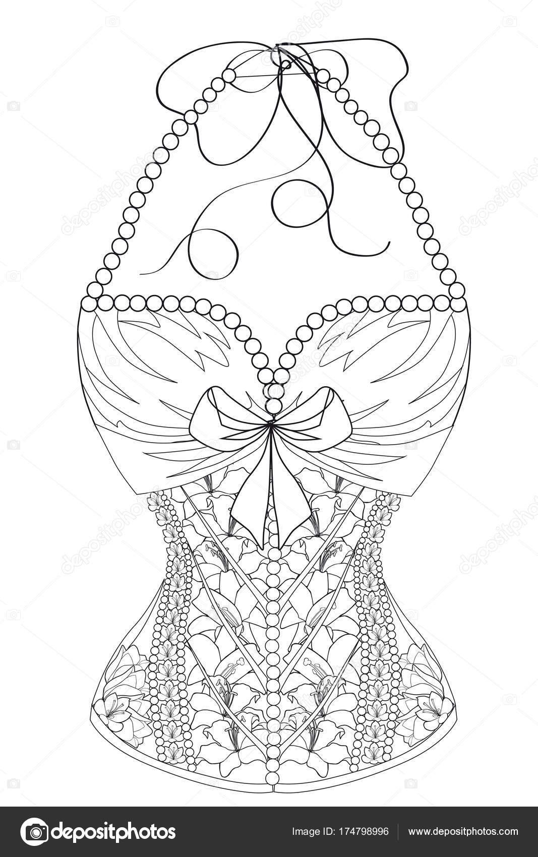 Página para colorear para adultos. Corset con flores y perlas ...
