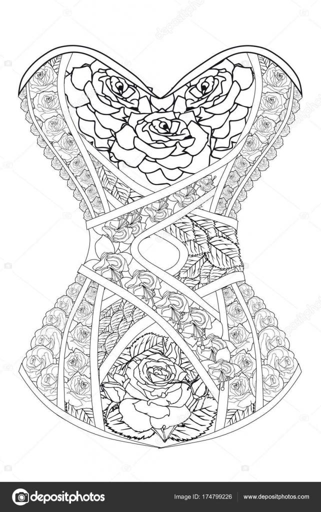 Página para colorear para adultos. Corsé con rosas. Terapia del arte ...