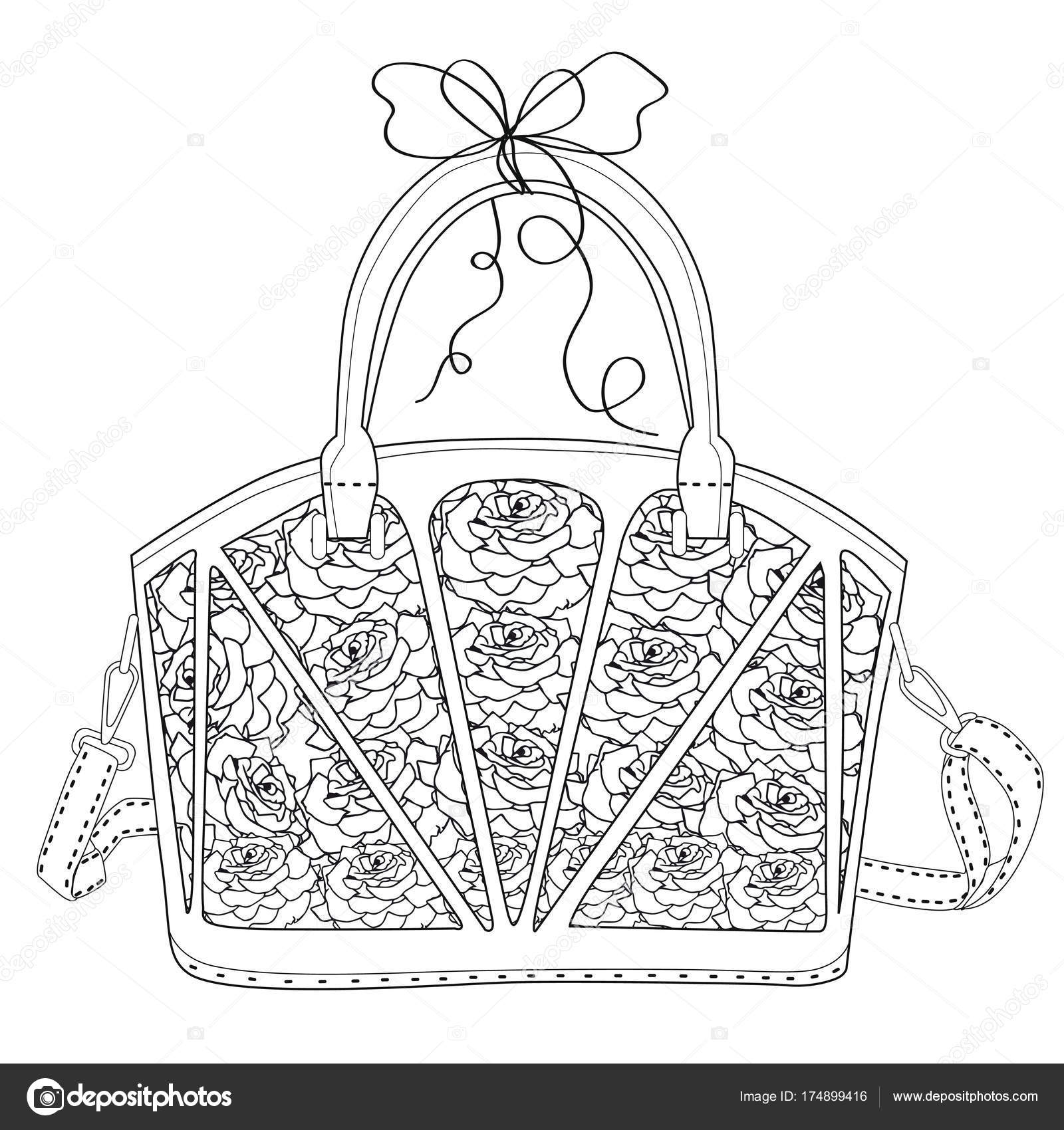 Malvorlagen für Erwachsene. Tasche mit Rosen — Stockvektor © l.grape ...