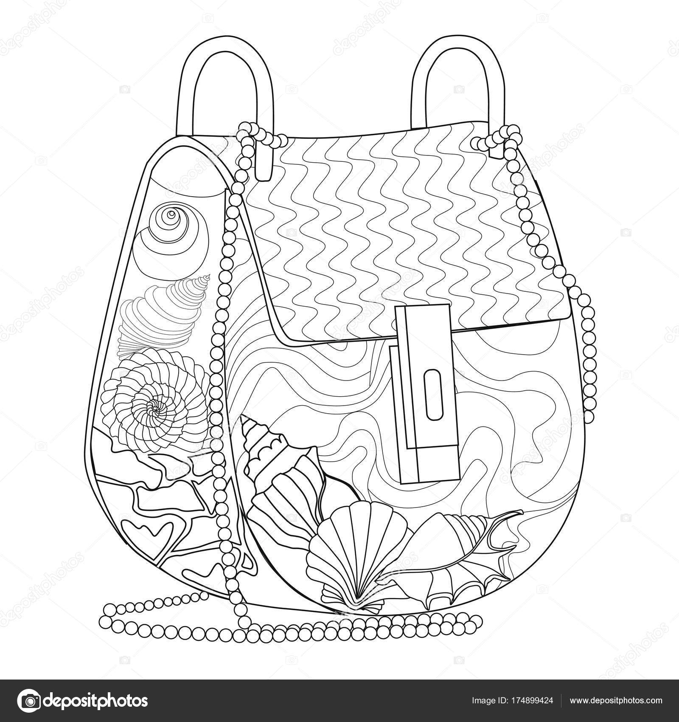 Malvorlagen für Erwachsene. Tasche mit Muscheln — Stockvektor © l ...