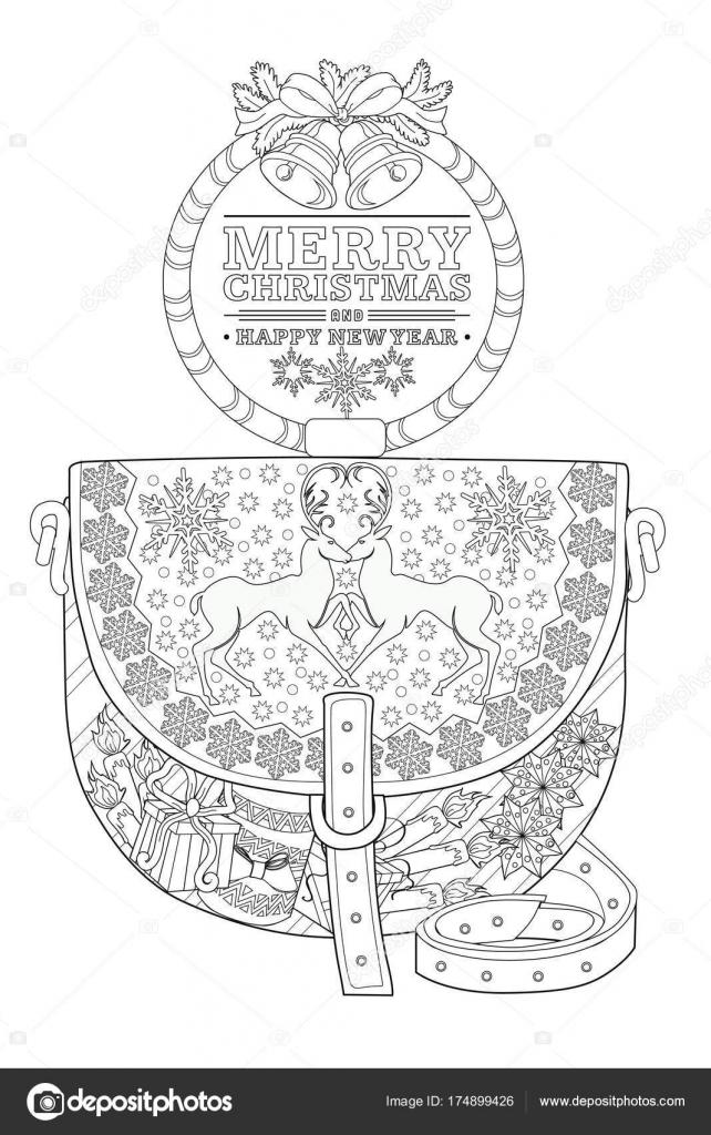 Malvorlagen Für Erwachsene Weihnachten Tasche Stockvektor L