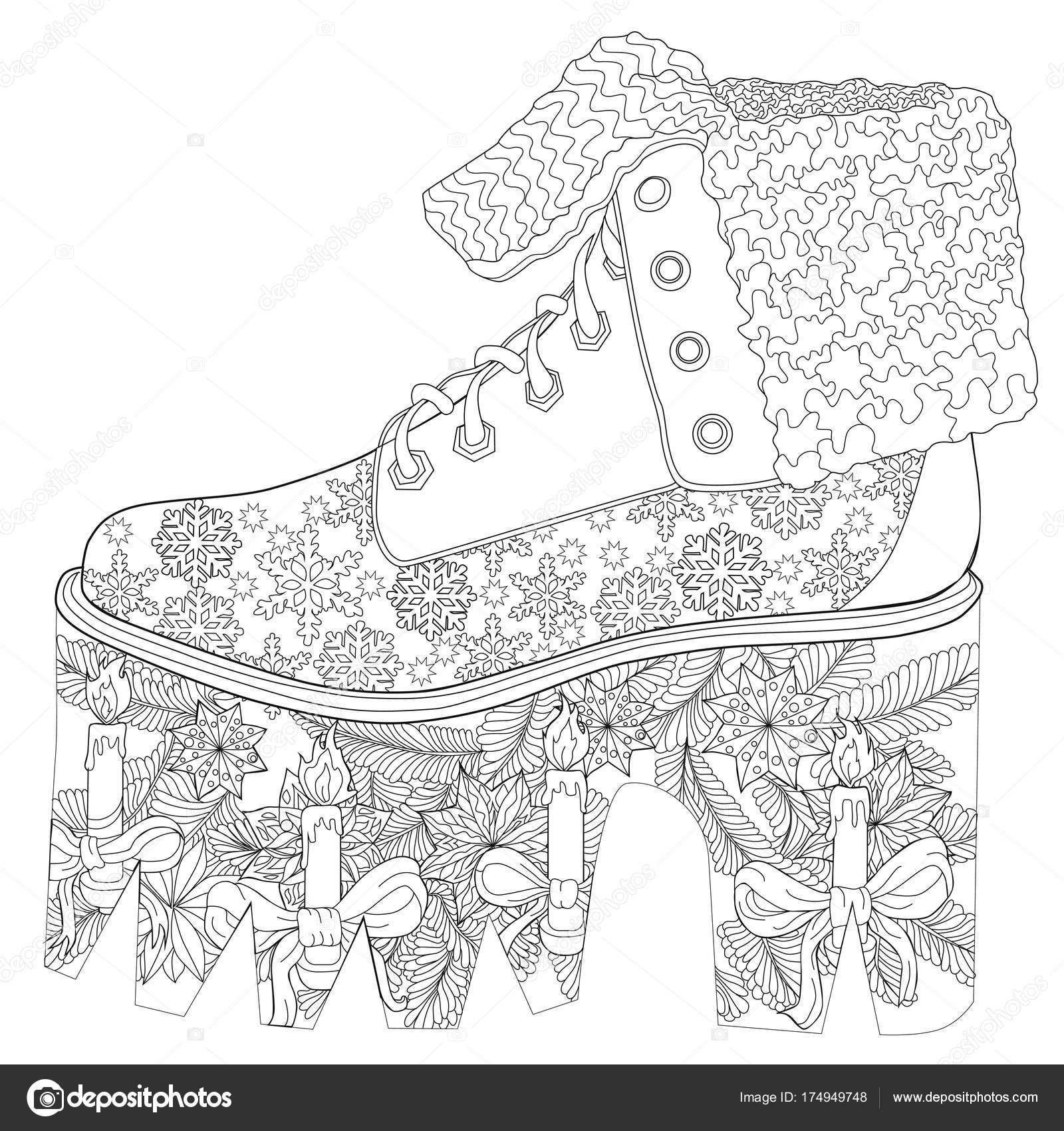 Yetişkin Renklendirme Sayfası Noel Ayakkabı Sanat Terapisi Stok