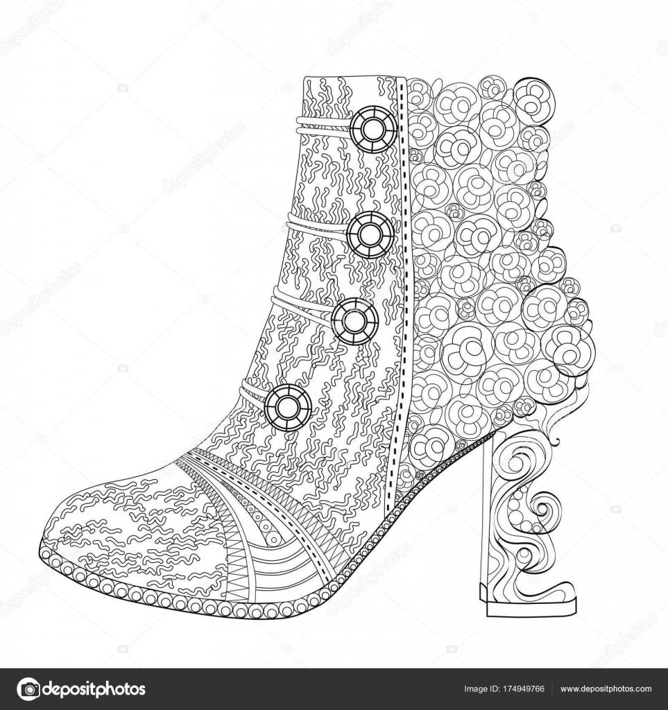 Ayakkabı Boyama Sayfası Yetişkinler Için Sanat Terapisi Stok
