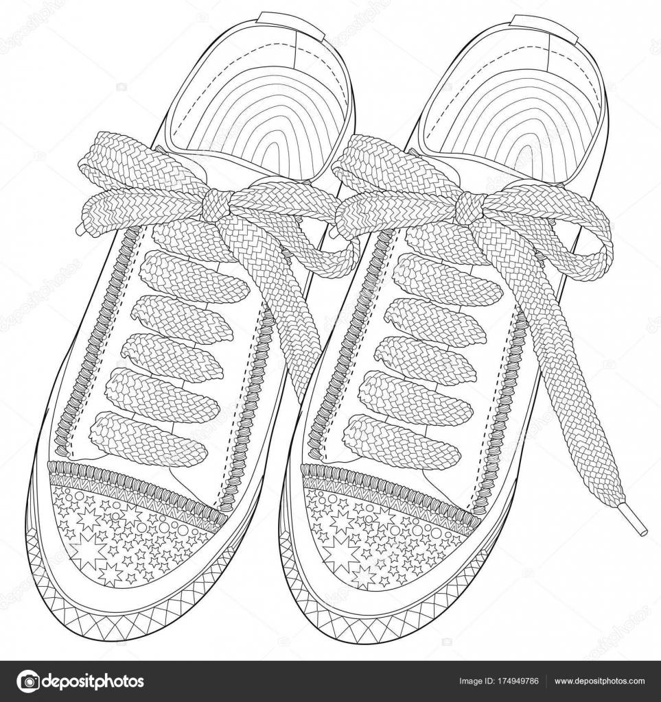 Coloriage Pour Adultes Chaussures De Sport Art Thérapie Image