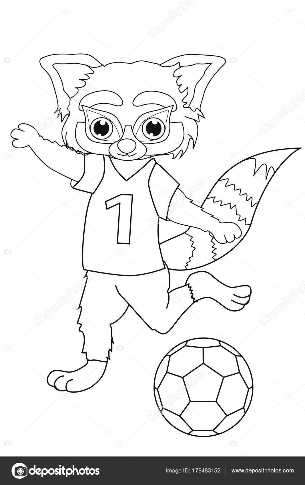 Libro Colorear Panda Rojo Jugador Fútbol Estilo Dibujos Animados ...