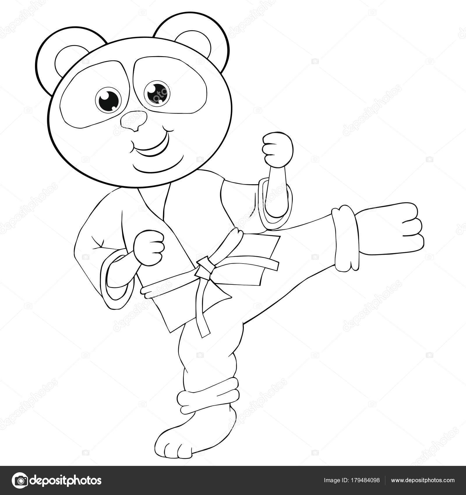 Animado Karate Para Colorear Panda Karate Libro Para Colorear