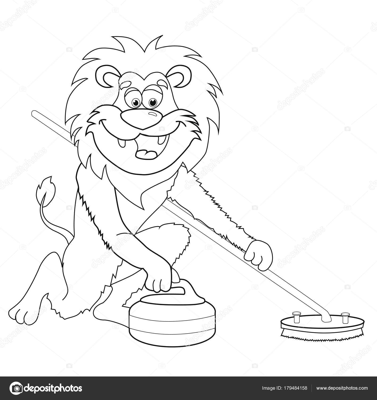 Coloring Book Lion Curling Cartoon Style Isolated Image White ...