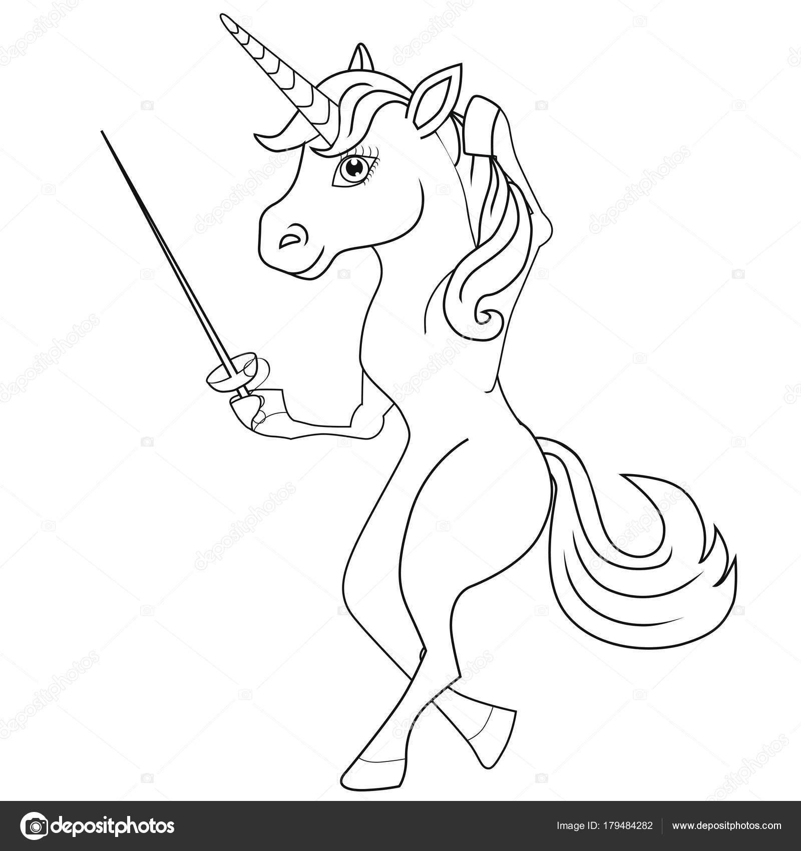 Coloring Book Unicorn Fencer Cartoon Style Isolated Image White