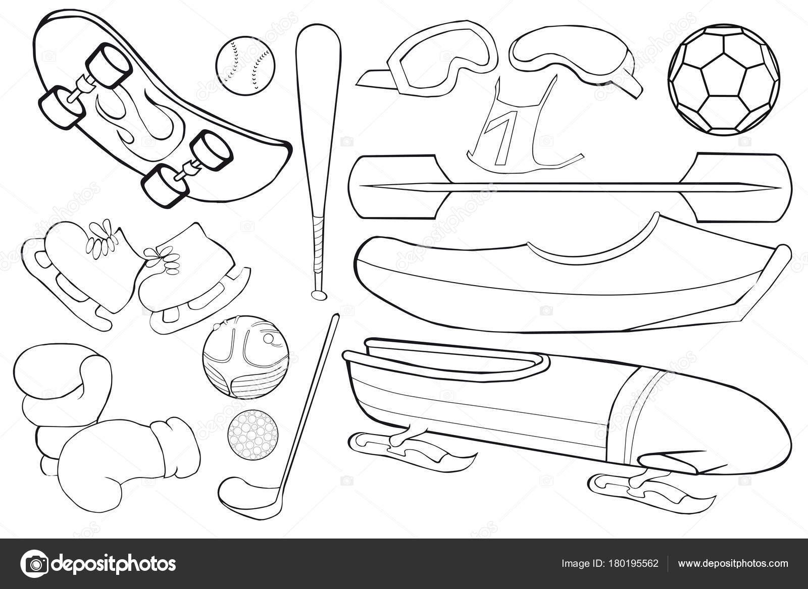 Boyama Kitabi Spor Ekipmanlari Kume Karikatur Tarzi Stok