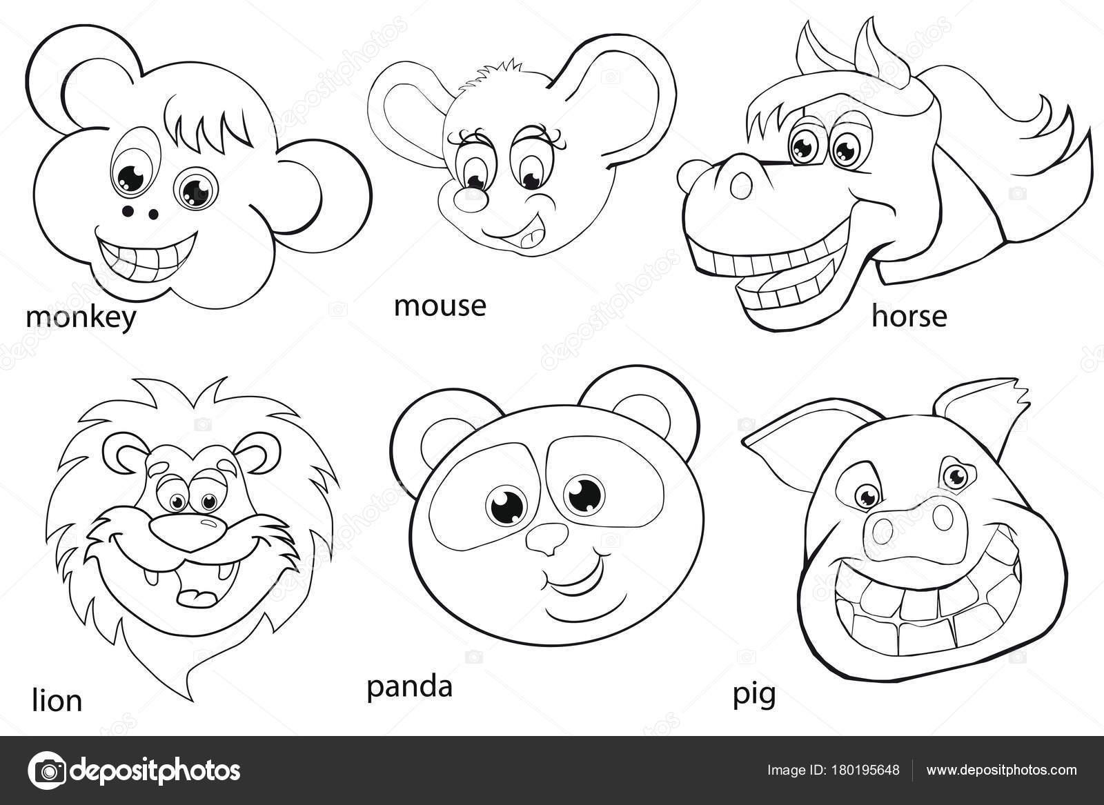 塗り絵。動物の頭部。設定します。漫画のスタイル — ストックベクター