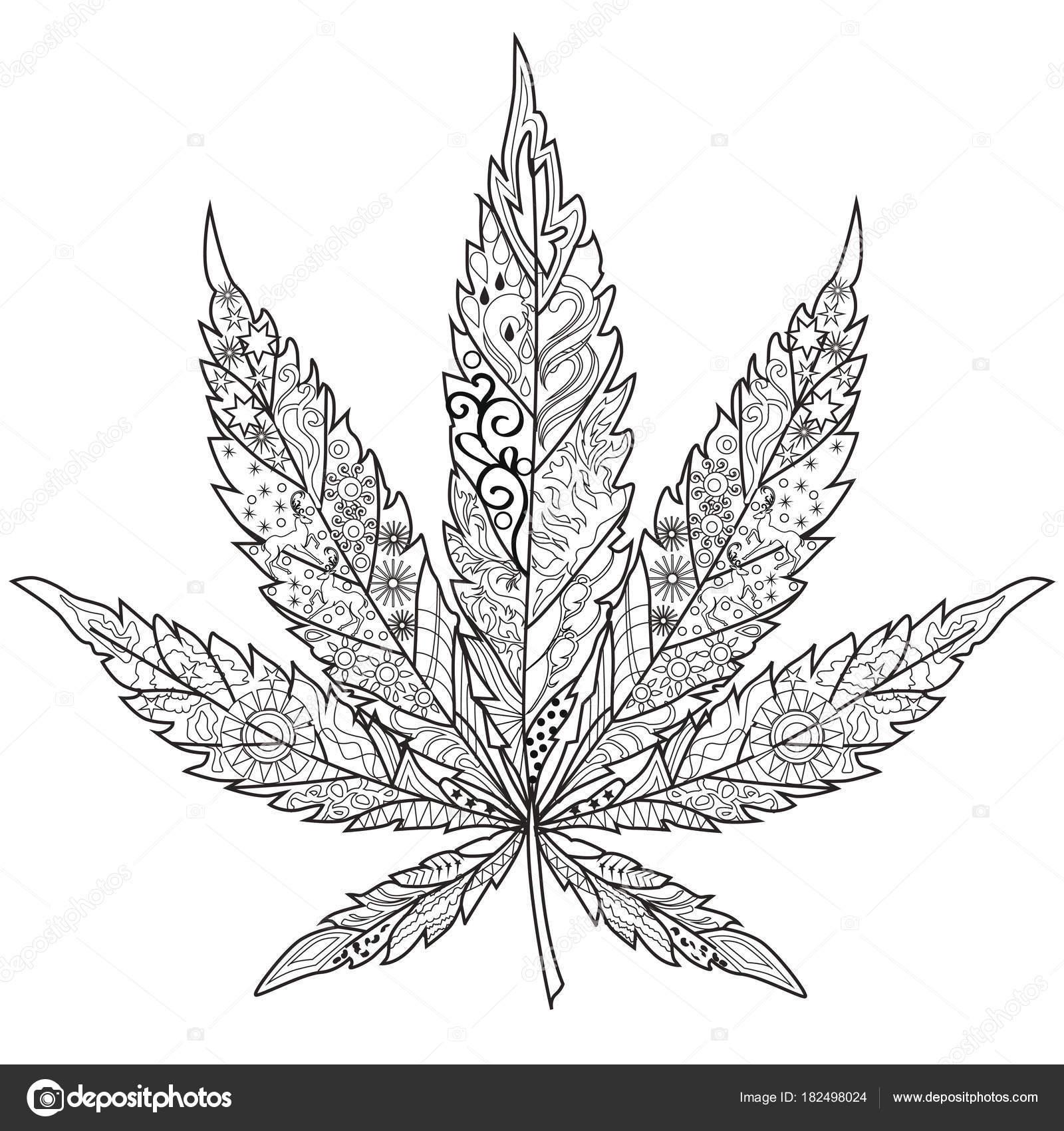 Cannabis kunstzinnige therapie kleurboek voor volwassenen stockvector 182498024 - Coloriage feuille de cannabis ...