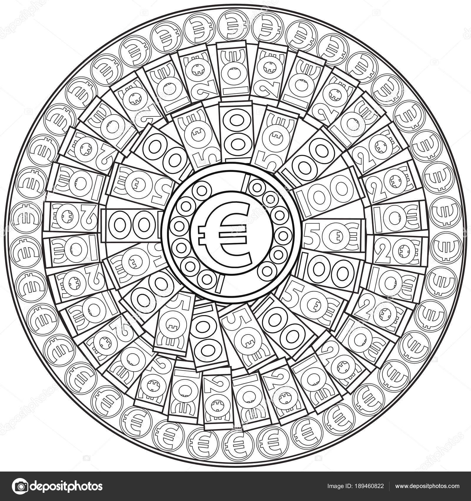 Euro. Malvorlagen für Erwachsene. Mandala, Geld zu gewinnen ...