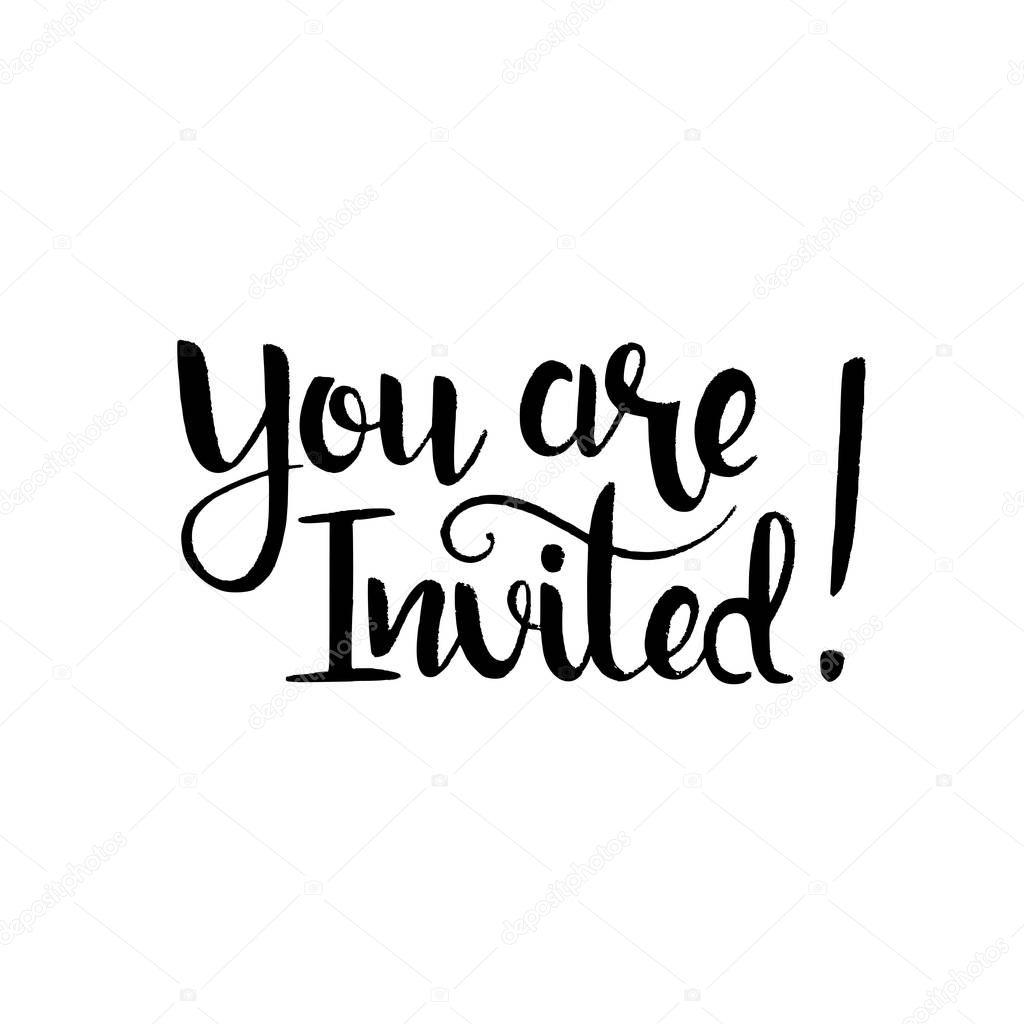 you are invited handwritten lettering stock vector
