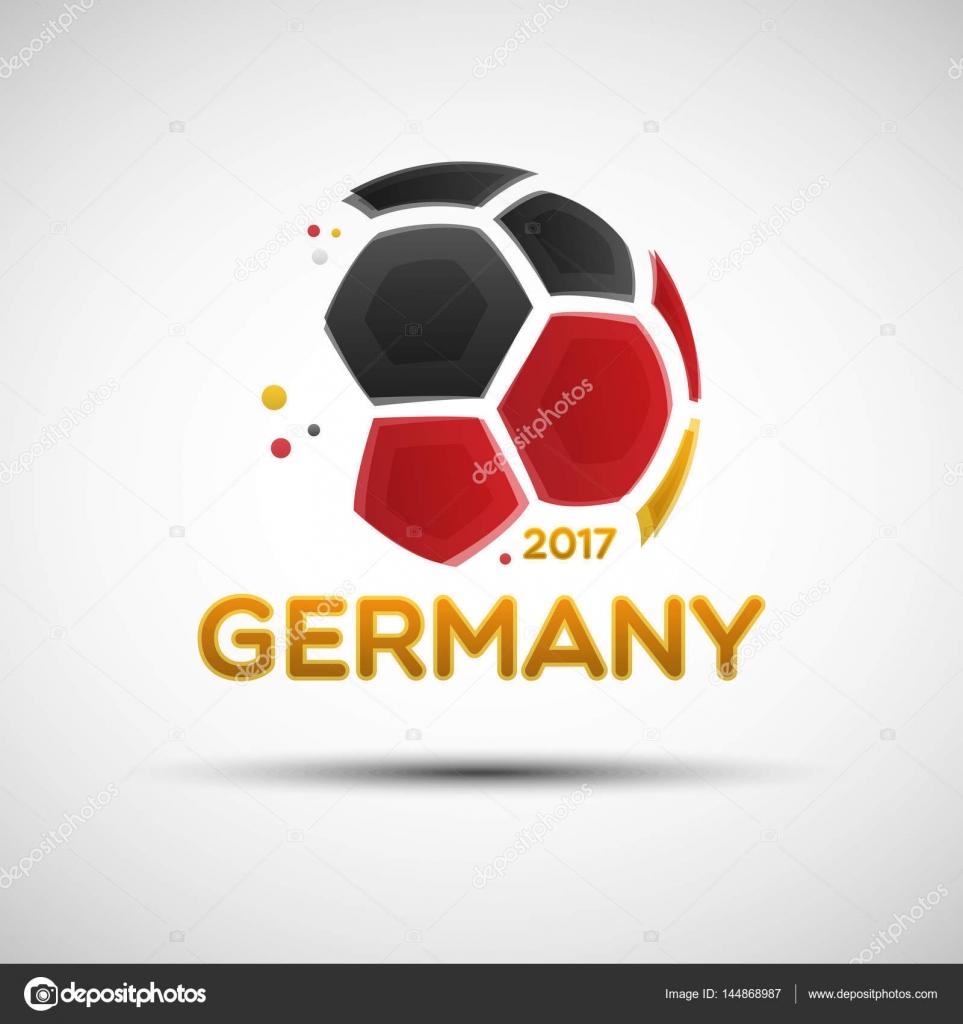Abstrakte Fußball mit Farben der deutschen Nationalflagge ...