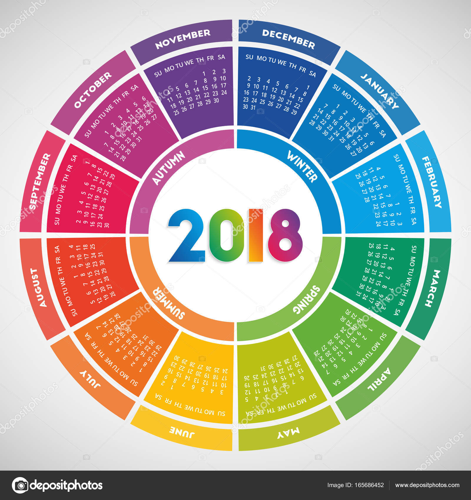 Design color rond calendrier 2018 image vectorielle for Architecture 2018