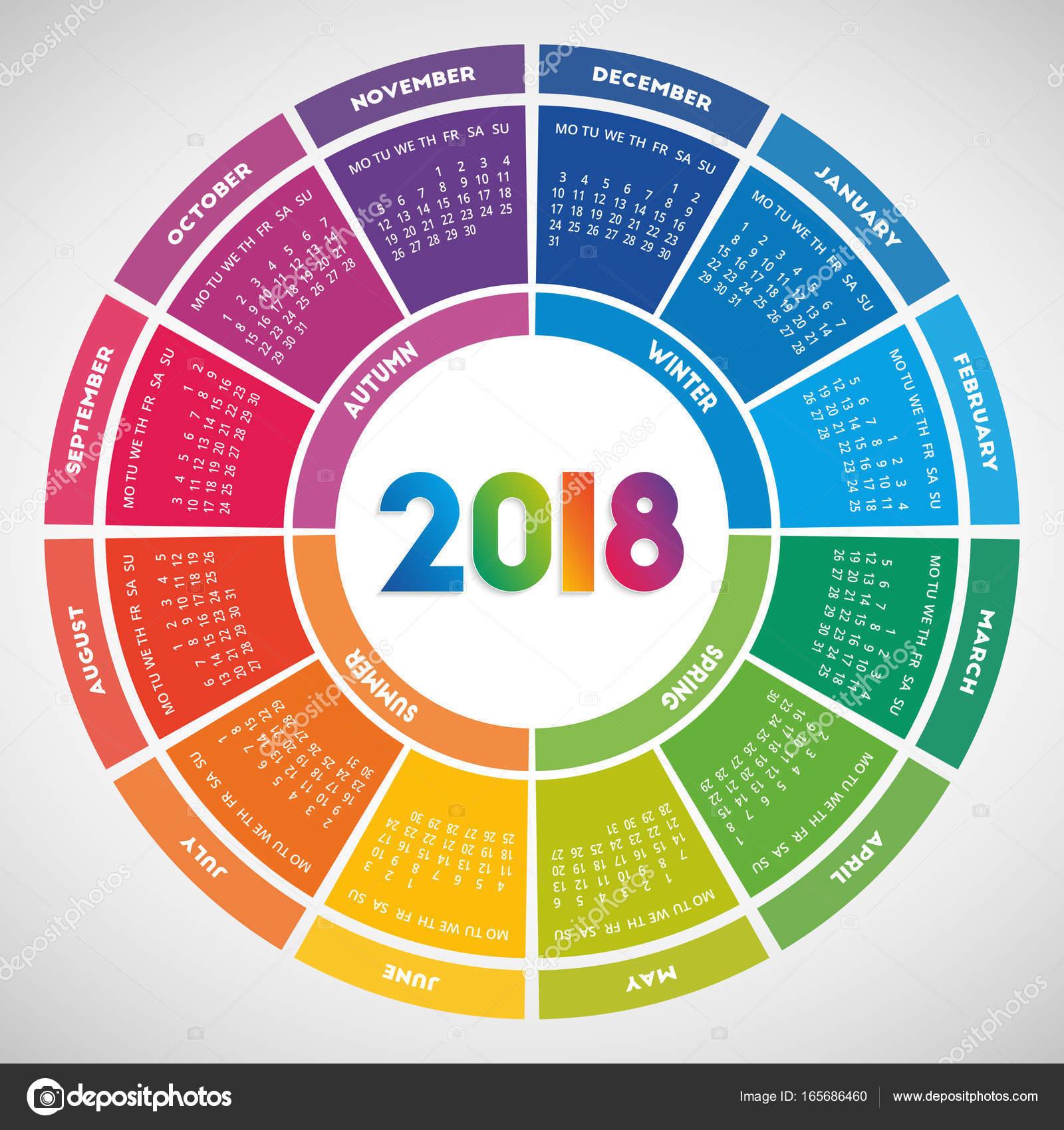 20011 naptár Színes kerek naptár 2018 design — Stock Vektor © Lawkeeper #165686460 20011 naptár