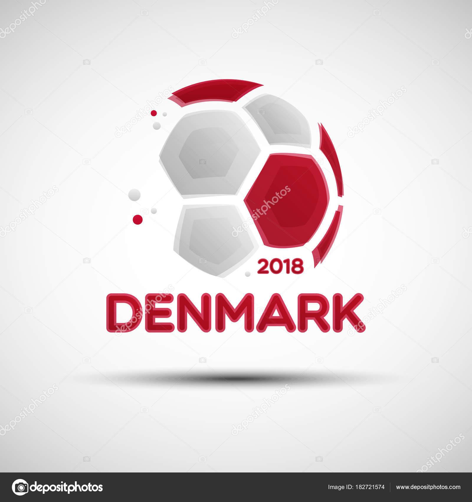 Abstrakte Fußball mit dänischen Nationalflagge Farben — Stockvektor ...