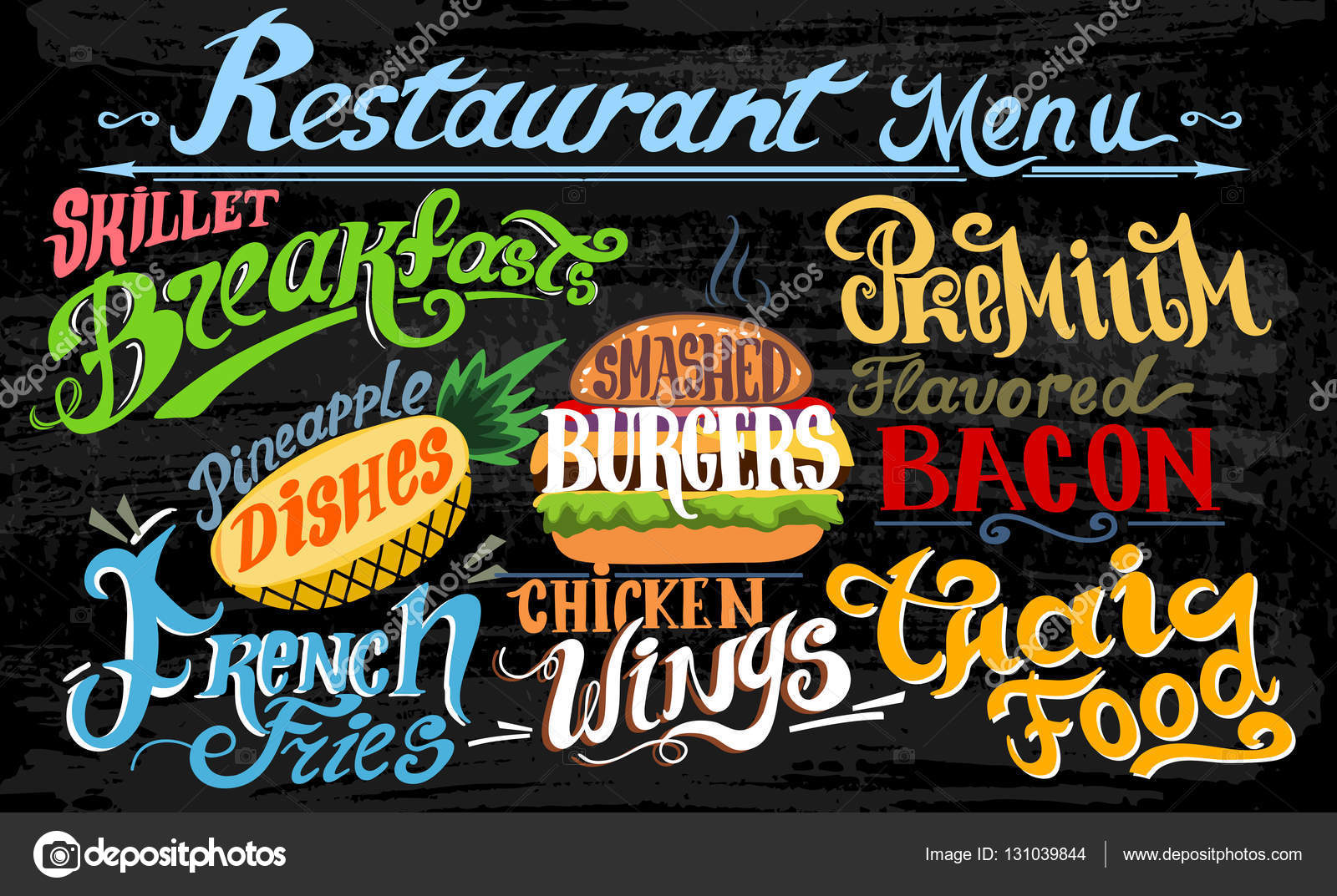 Retro Vintage Style Fast Food Design Lettering Set Of Calligraphic