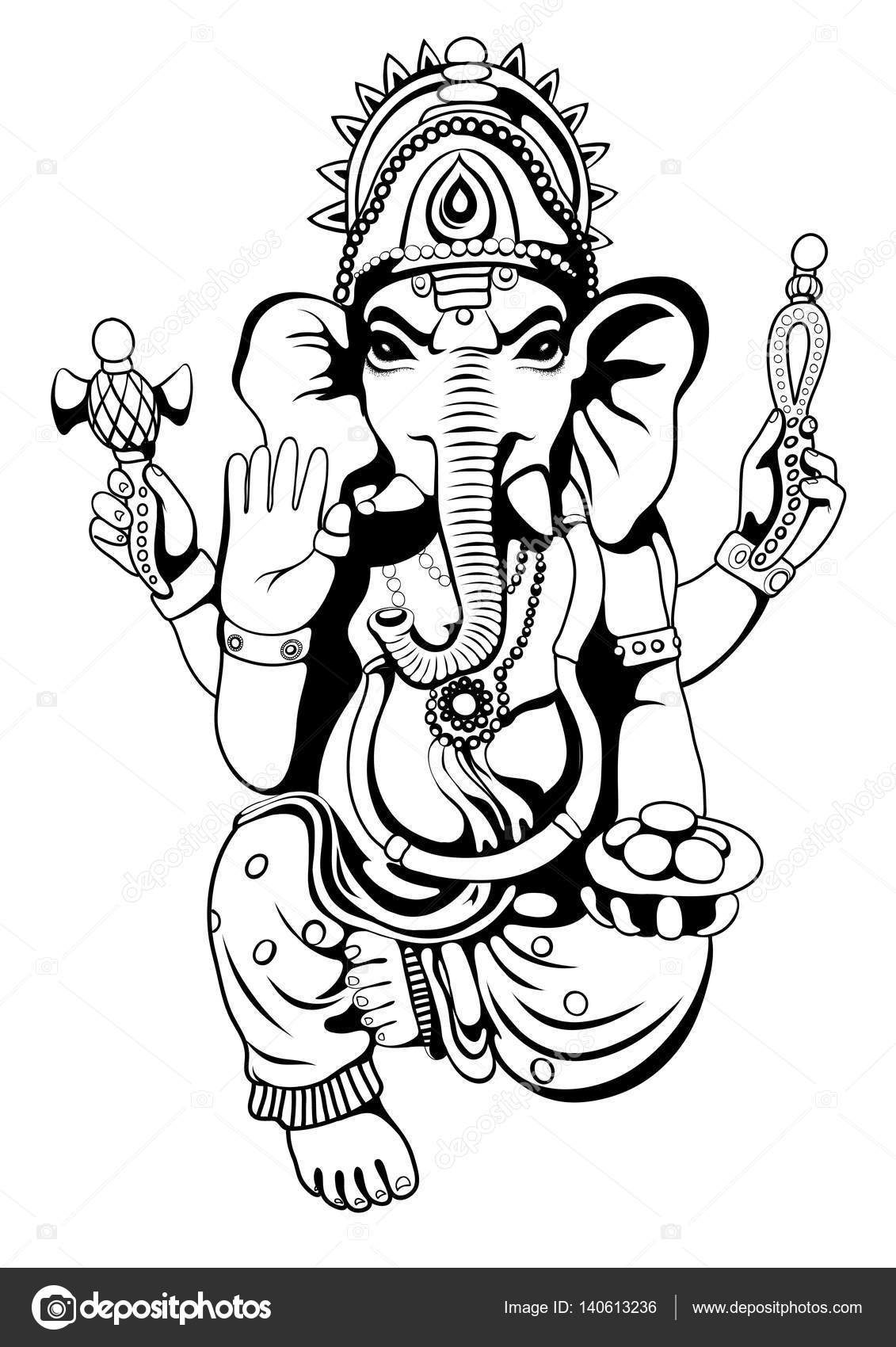 Lord ganesha sketch on a background vector stock vector