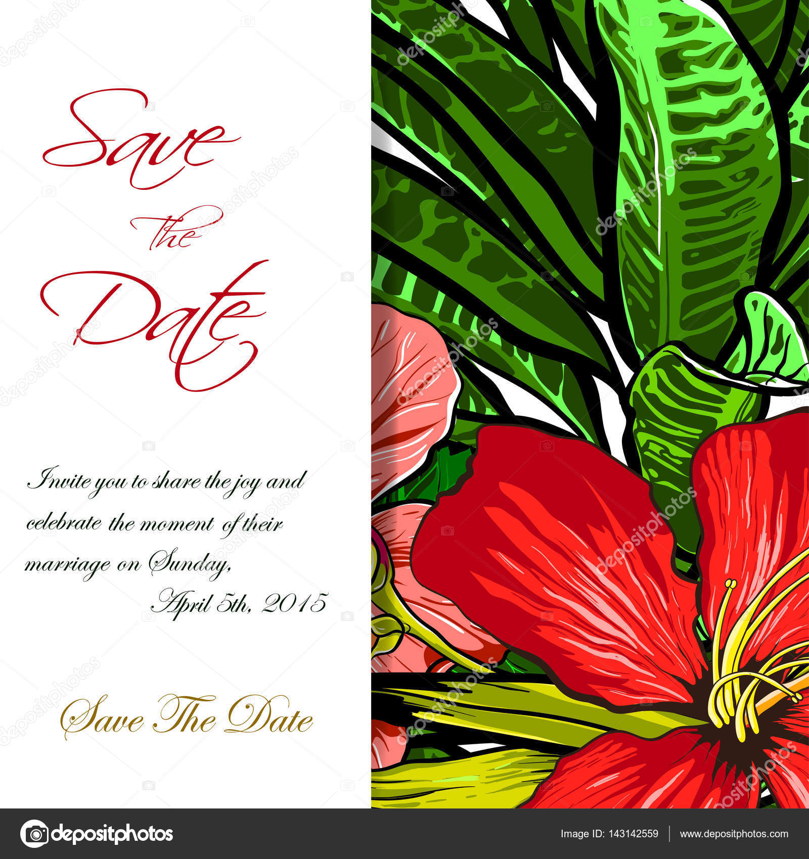 Wedding invitation or card design with exotic tropical flowers and ...