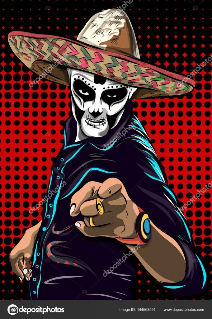 Carabela Mexicana Hombre Día Del Vector De Hombre Cráneo Muerto