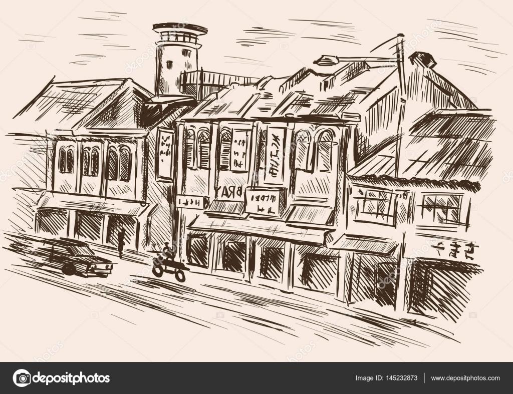 農村風景町並み 手描きの背景イラスト ストックベクター