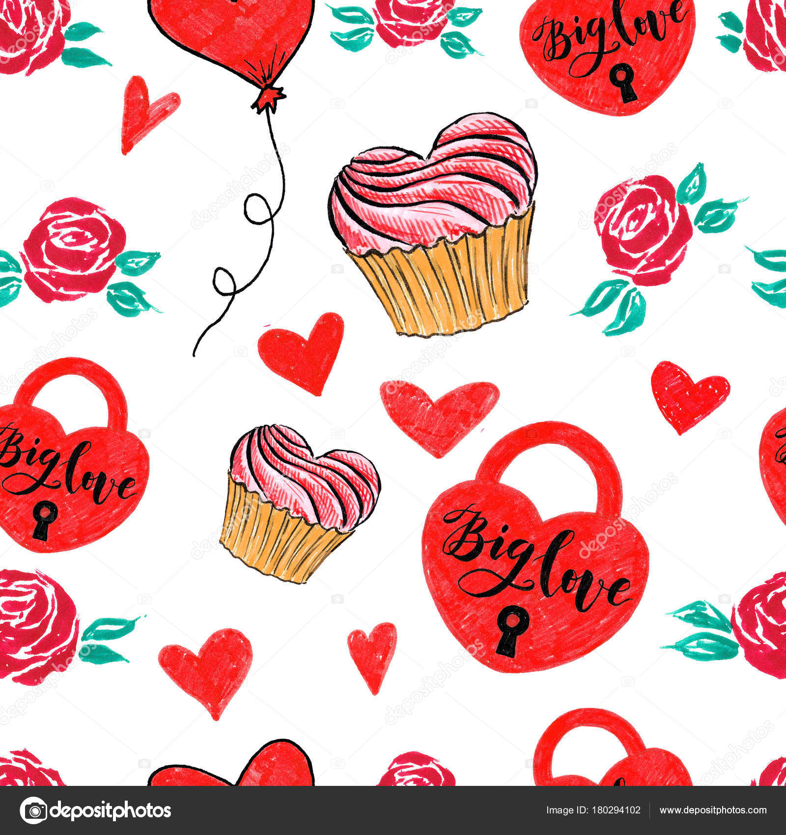 marker valentine seamless hearts lock and love pattern stock