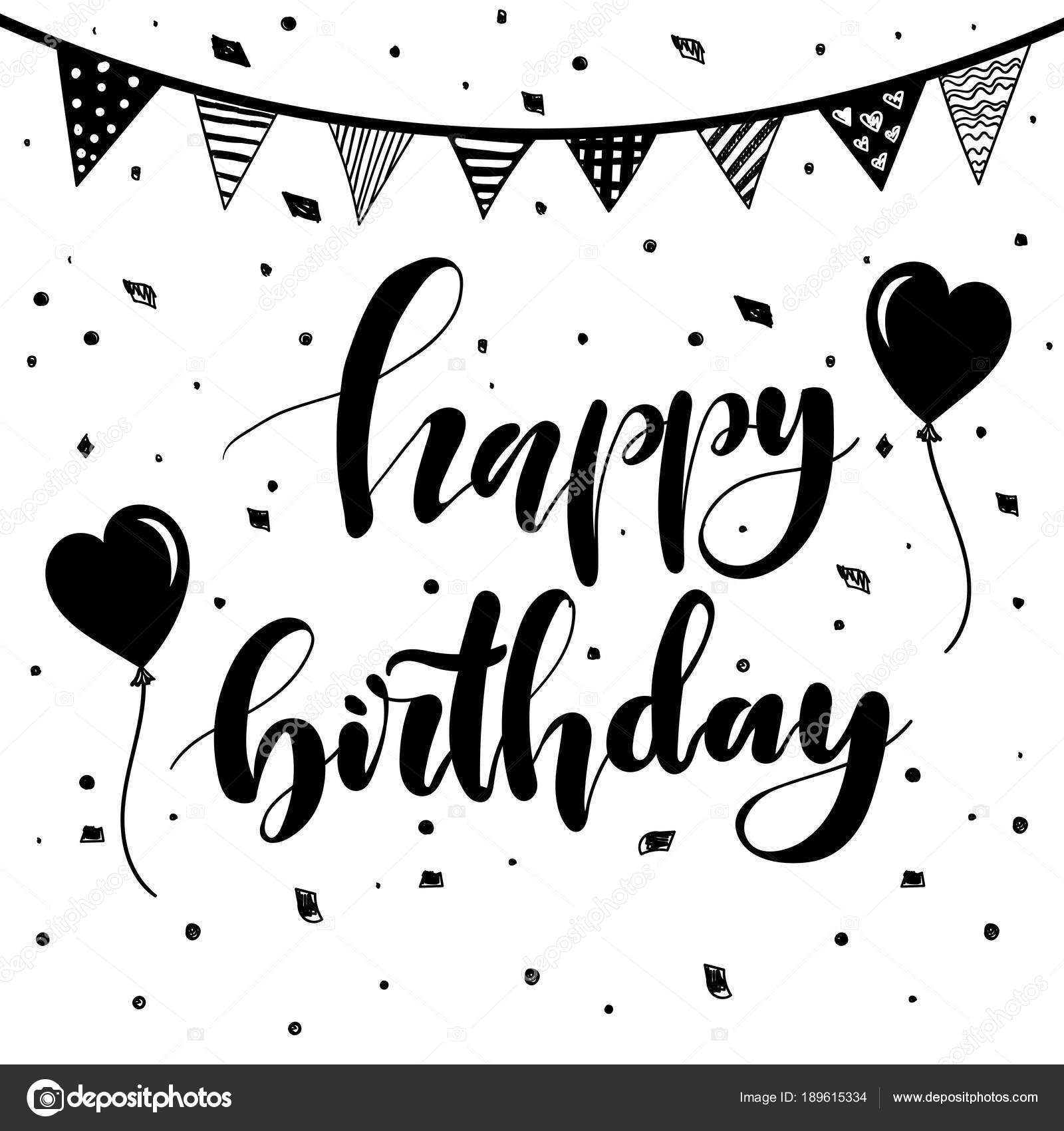 happy birthday hand lettering feliz cumplea 241 os vintage letras a mano cepillo de 22082 | depositphotos 189615334 stock illustration happy birthday vintage hand lettering