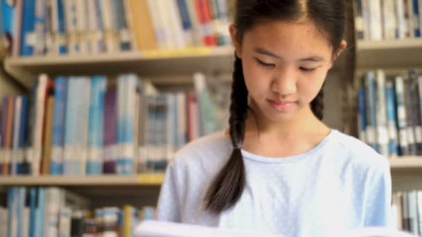 4K Asian student reading a book in school library for inspiration,Shoot with natural light, Slow motion shot