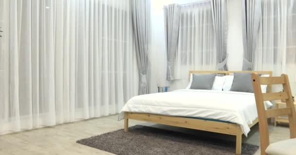 Jongen kamer decoratie in de slaapkamer interieur u stockvideo