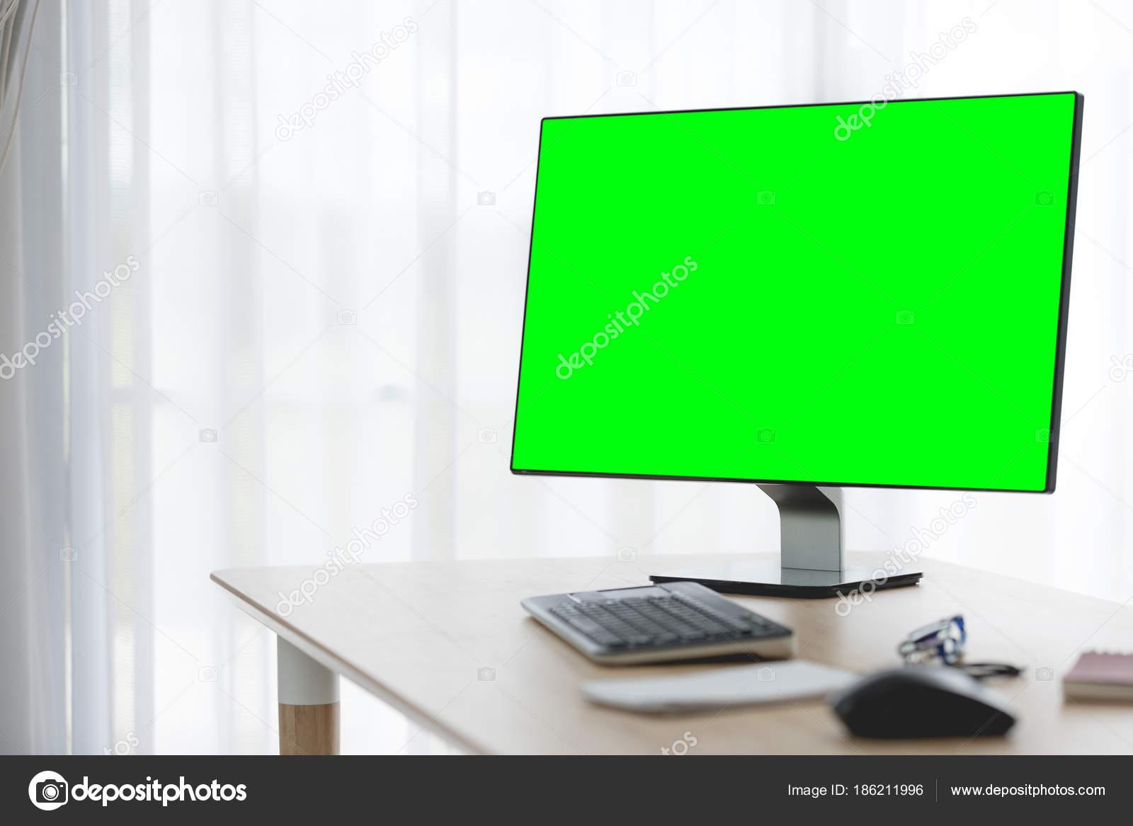 Arbeitsbereich Hintergrund Mit Desktop Pc Und Buro Accessoires